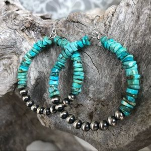 Blue Turquoise Desert Pearl Hoops
